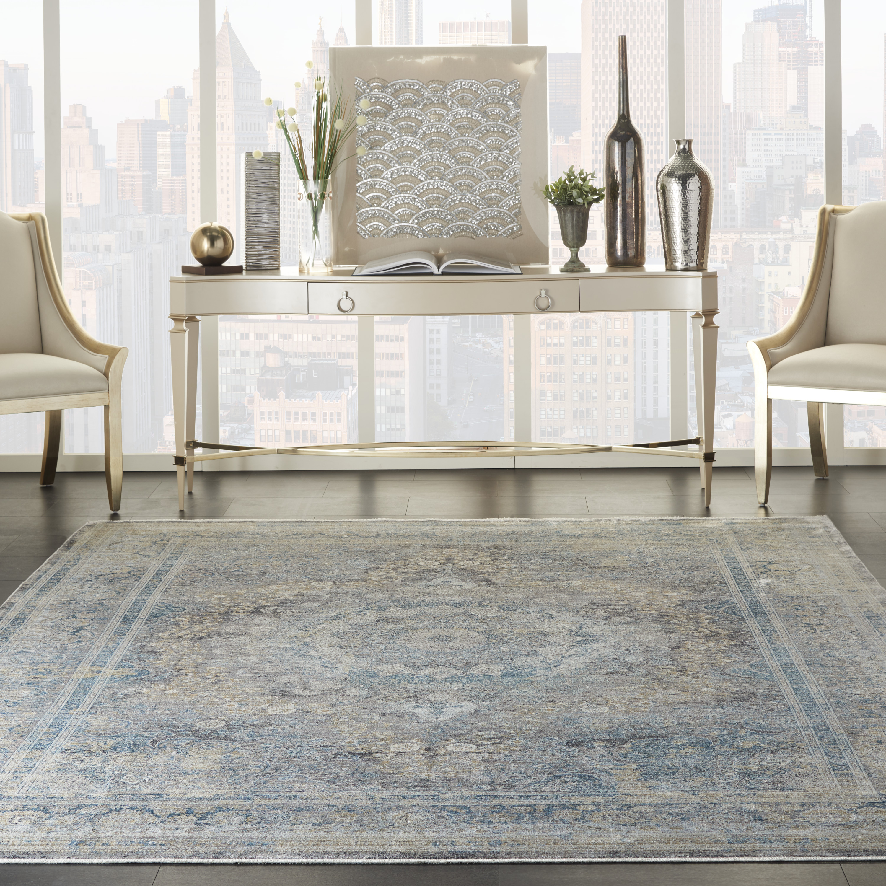 Nourison Starry Nights STN06 Cream Blue Rug