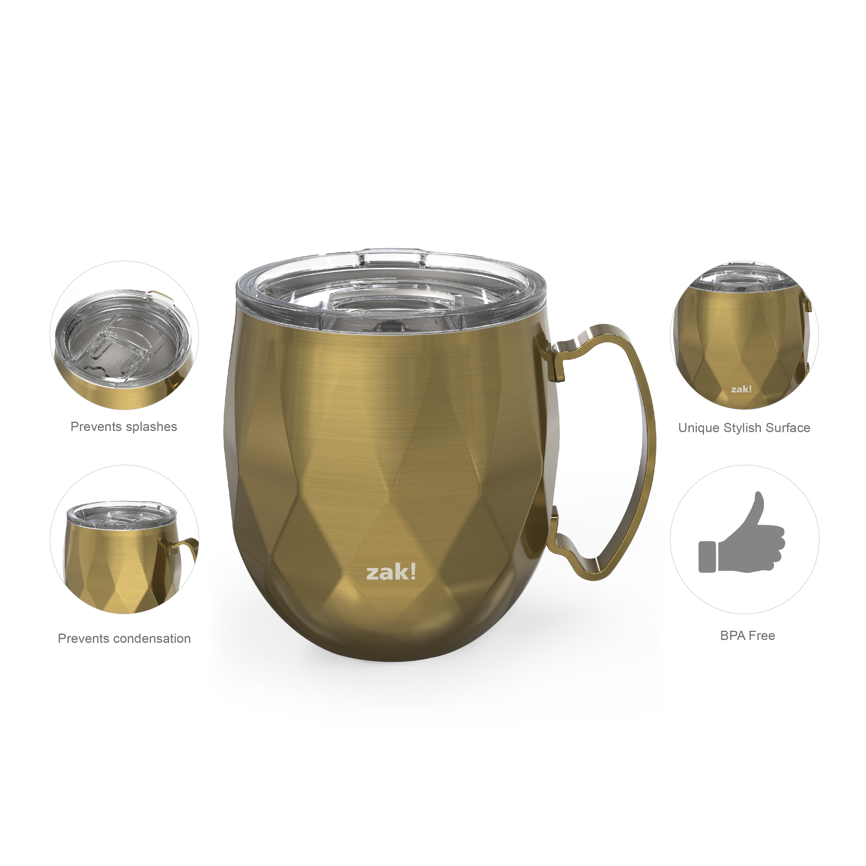 Fractal 19 ounce Vacuum Insulated Stainless Steel Mule Mug, Light Gold slideshow image 9