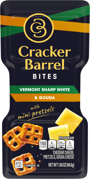 Cracker Barrel Bites, Vermont Sharp White Cheddar & Gouda with Mini Pretzels, 1.65 oz Tray