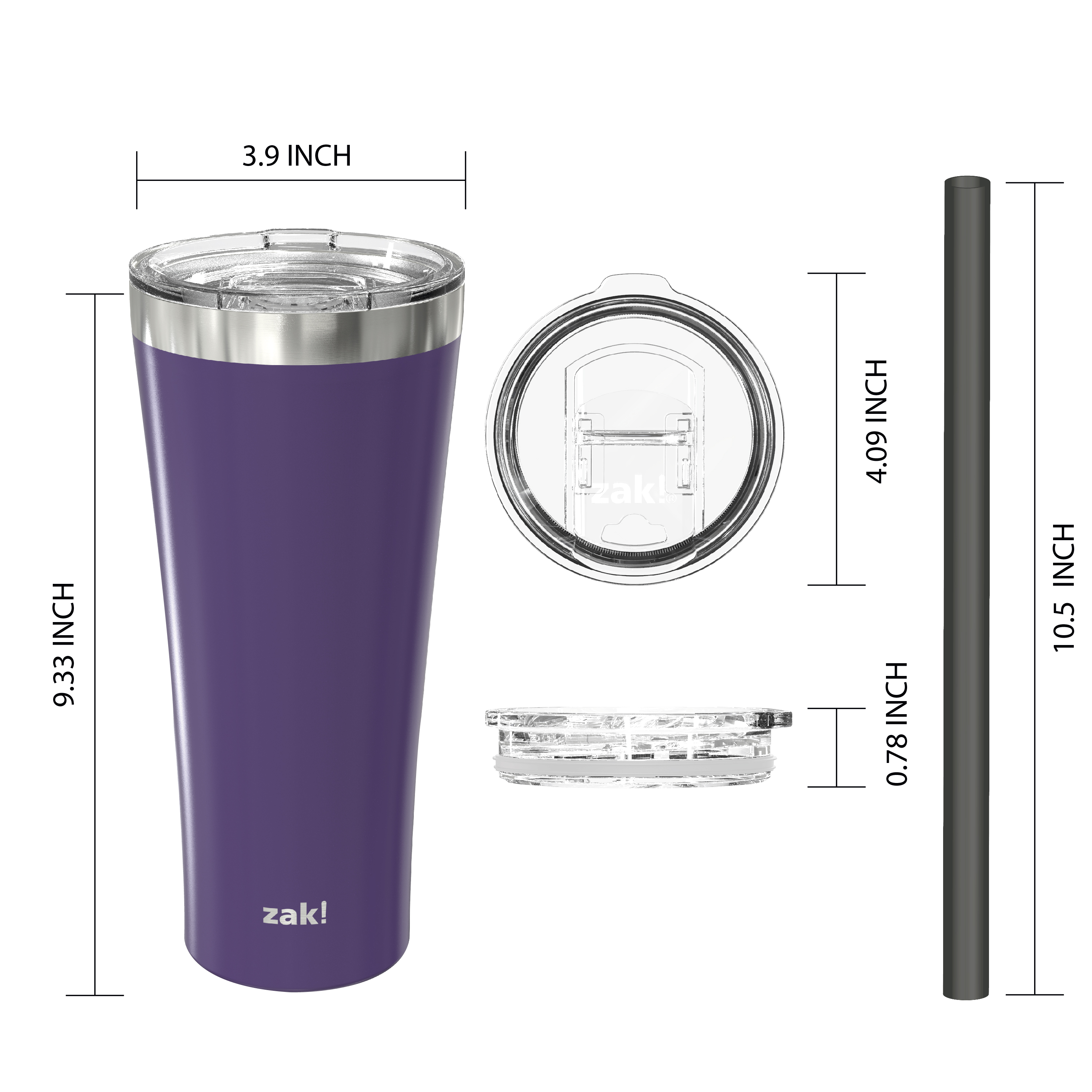 Alpine 30 ounce Stainless Steel Vacuum Insulated Tumbler with Straw, Viola slideshow image 2