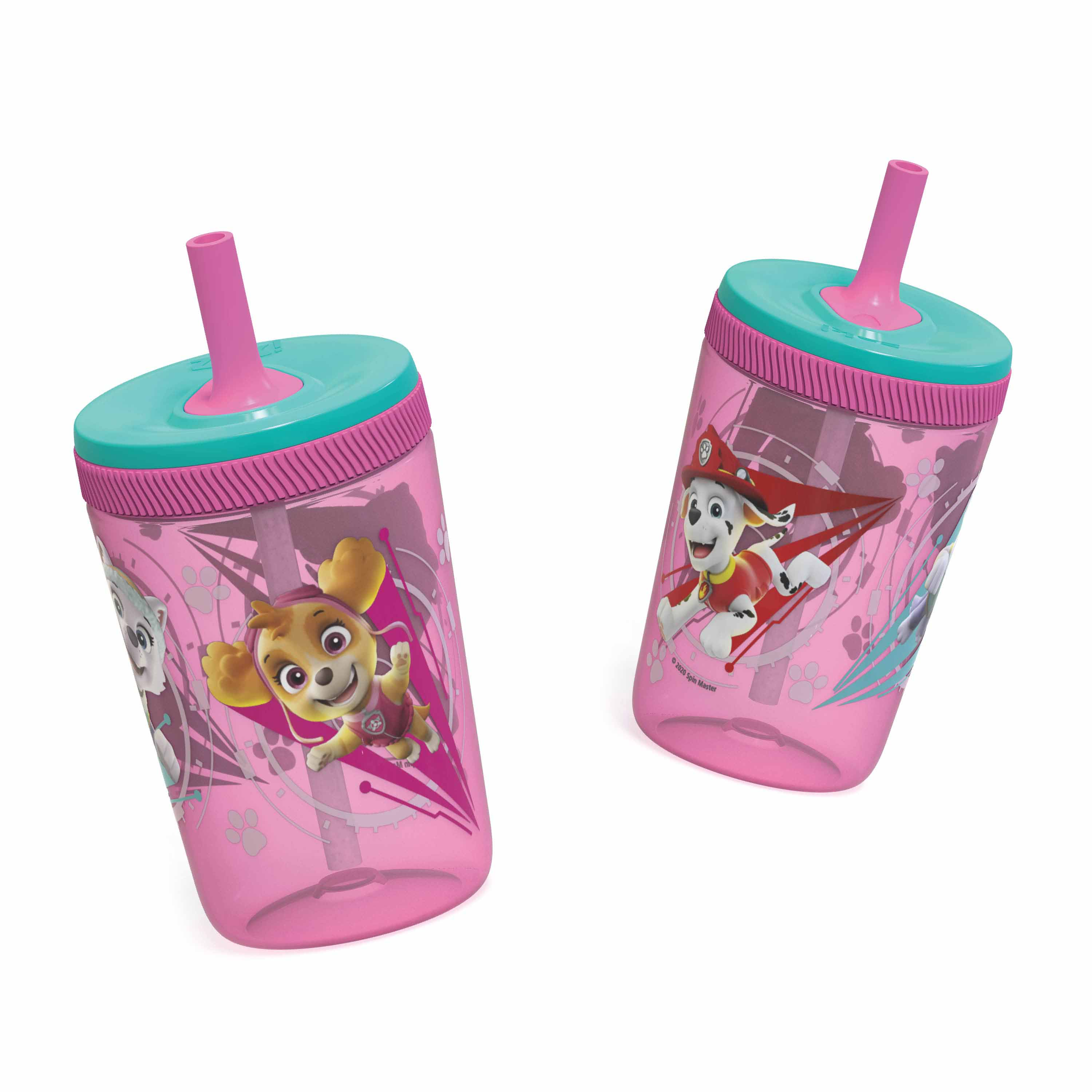 Paw Patrol 15  ounce Plastic Tumbler with Lid and Straw, Marshall and Skye, 2-piece set slideshow image 7