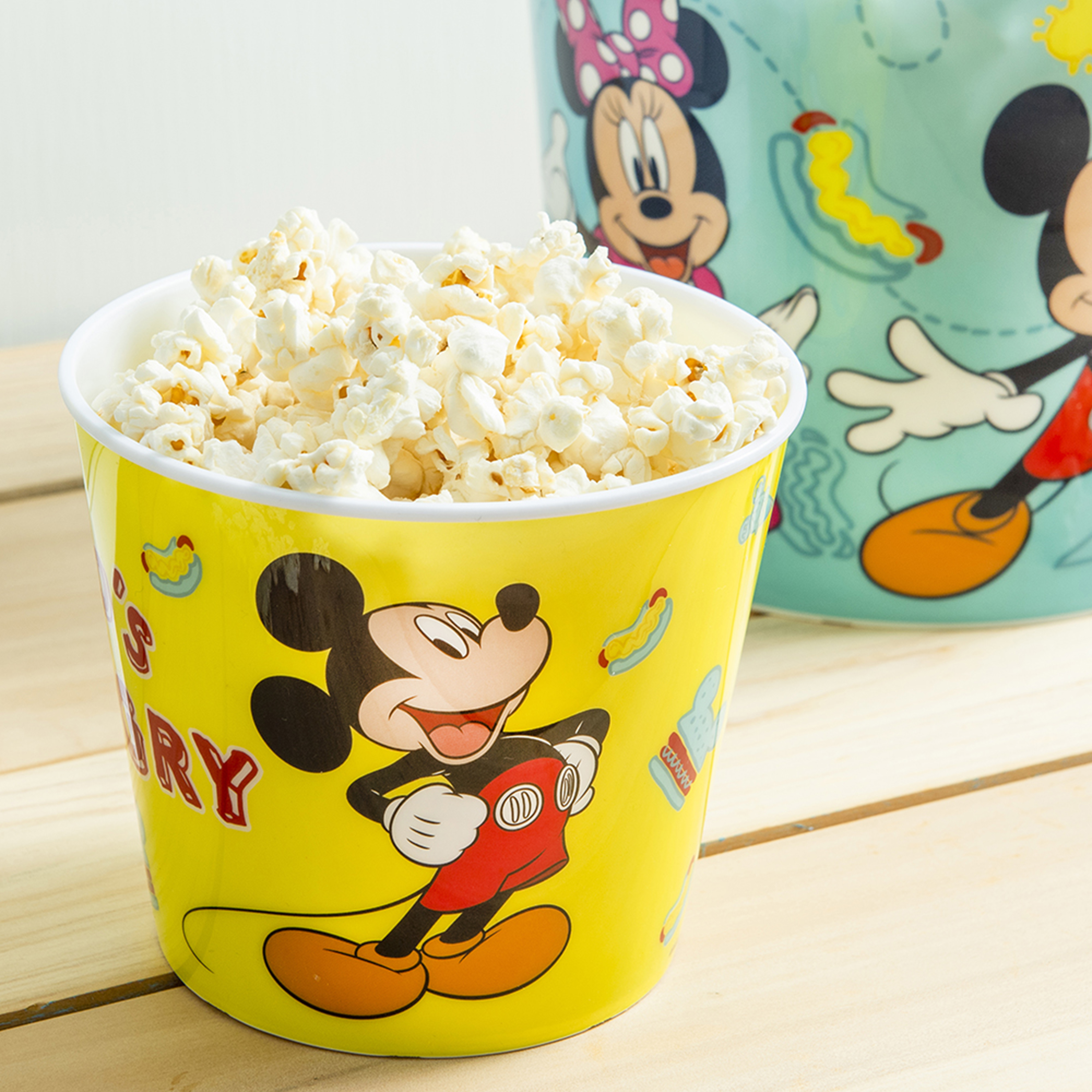 Disney Plastic Popcorn Container and Bowls, Mickey Mouse and Minnie Mouse, 5-piece set slideshow image 4