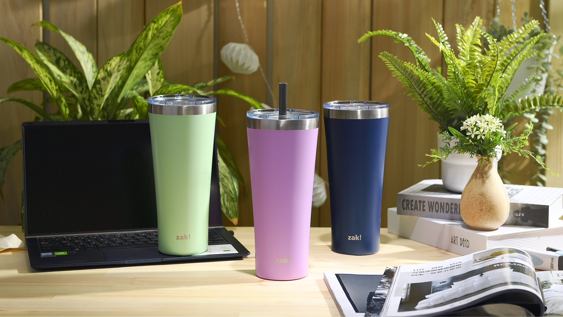 Alpine 30 ounce Stainless Steel Vacuum Insulated Tumbler with Straw, Lilac slideshow image 9