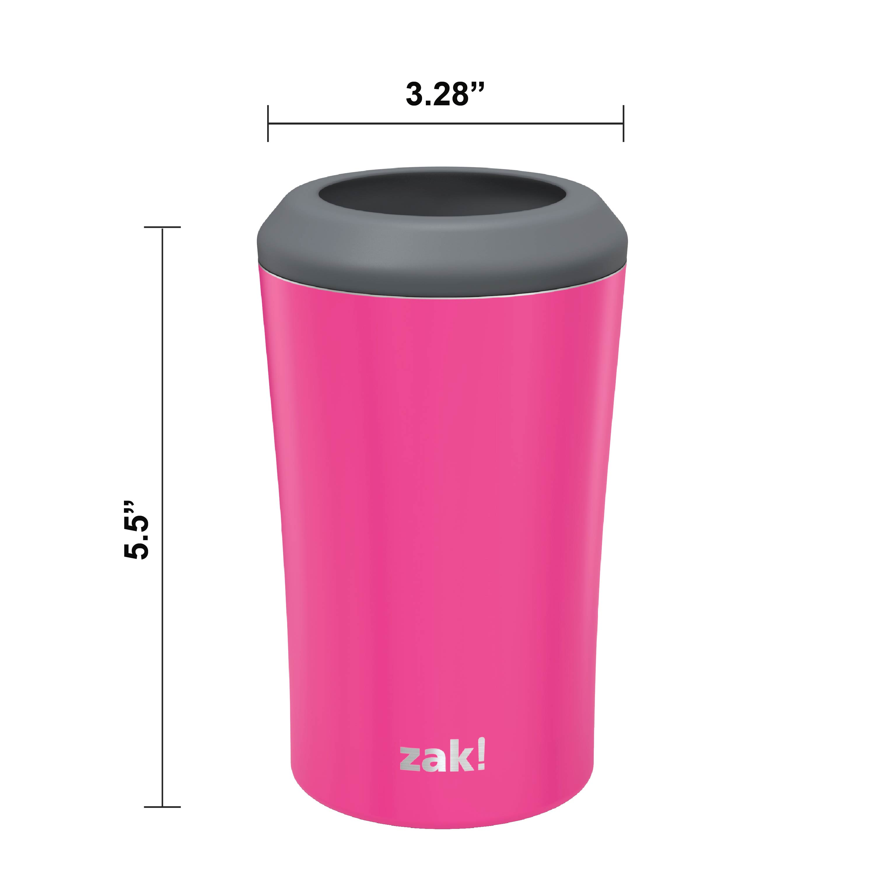 Zak Hydration 12 ounce Double Wall Stainless Steel Can and Bottle Cooler with Vacuum Insulation, Raspberry slideshow image 7