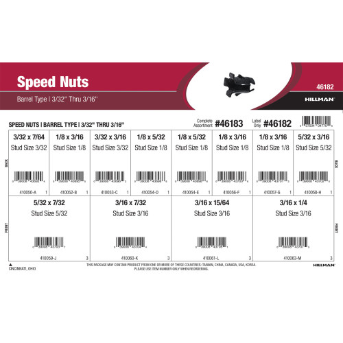 Barrel-Type Speed Nuts Assortment (3/32