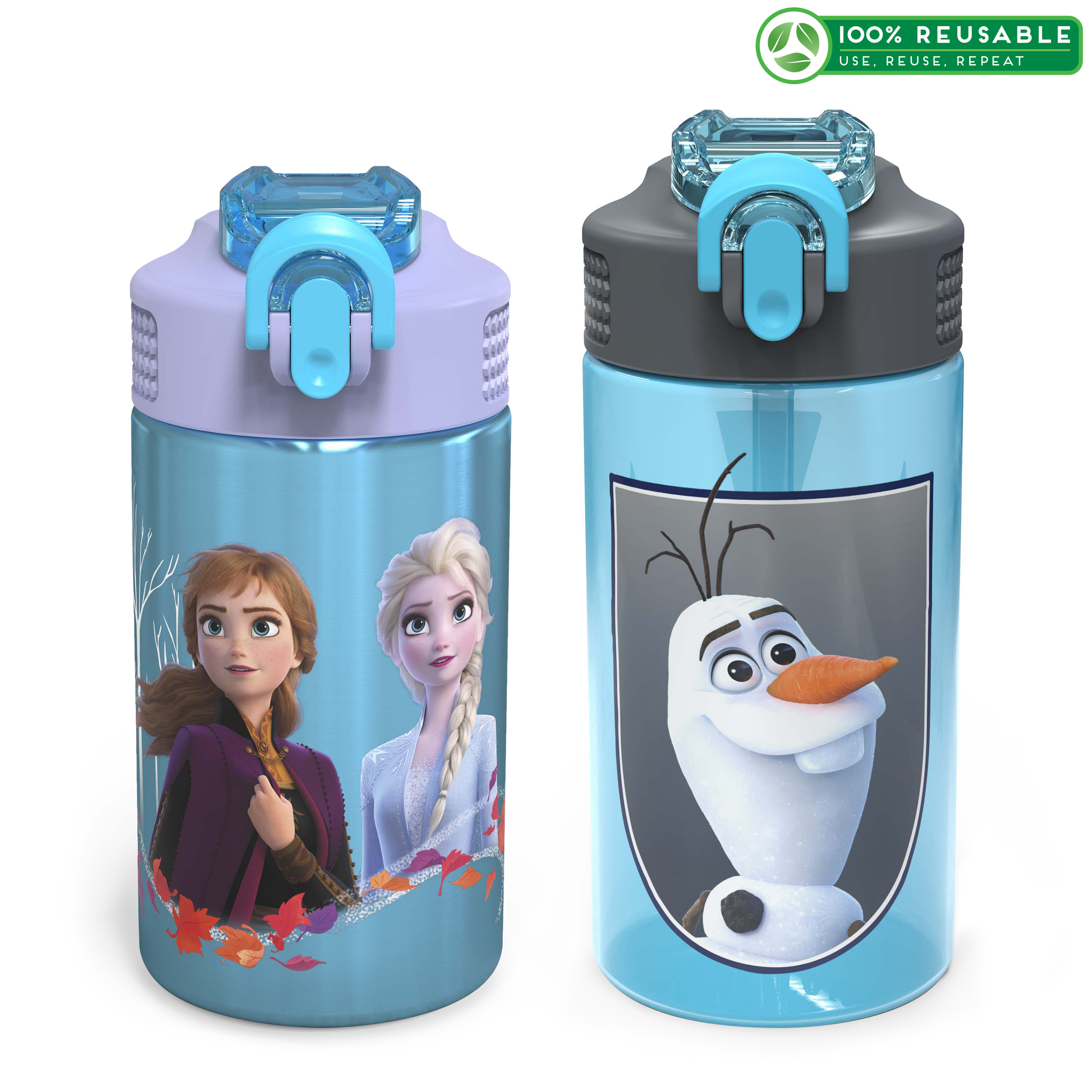 Disney Frozen 2 Movie Water Bottle, Anna , Elsa and Olaf, 2-piece set slideshow image 1