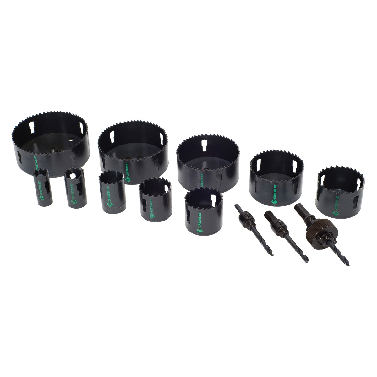 Greenlee 835 Hole Saw Kit, 13 Pieces, For Use With 1/2 to 4 in Conduit, Bi-Metal