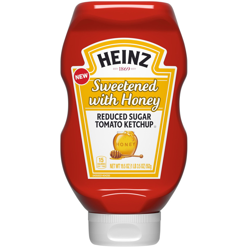 Heinz Sweetened with Honey Reduced Sugar Tomato Ketchup, 19.5 oz Bottle image