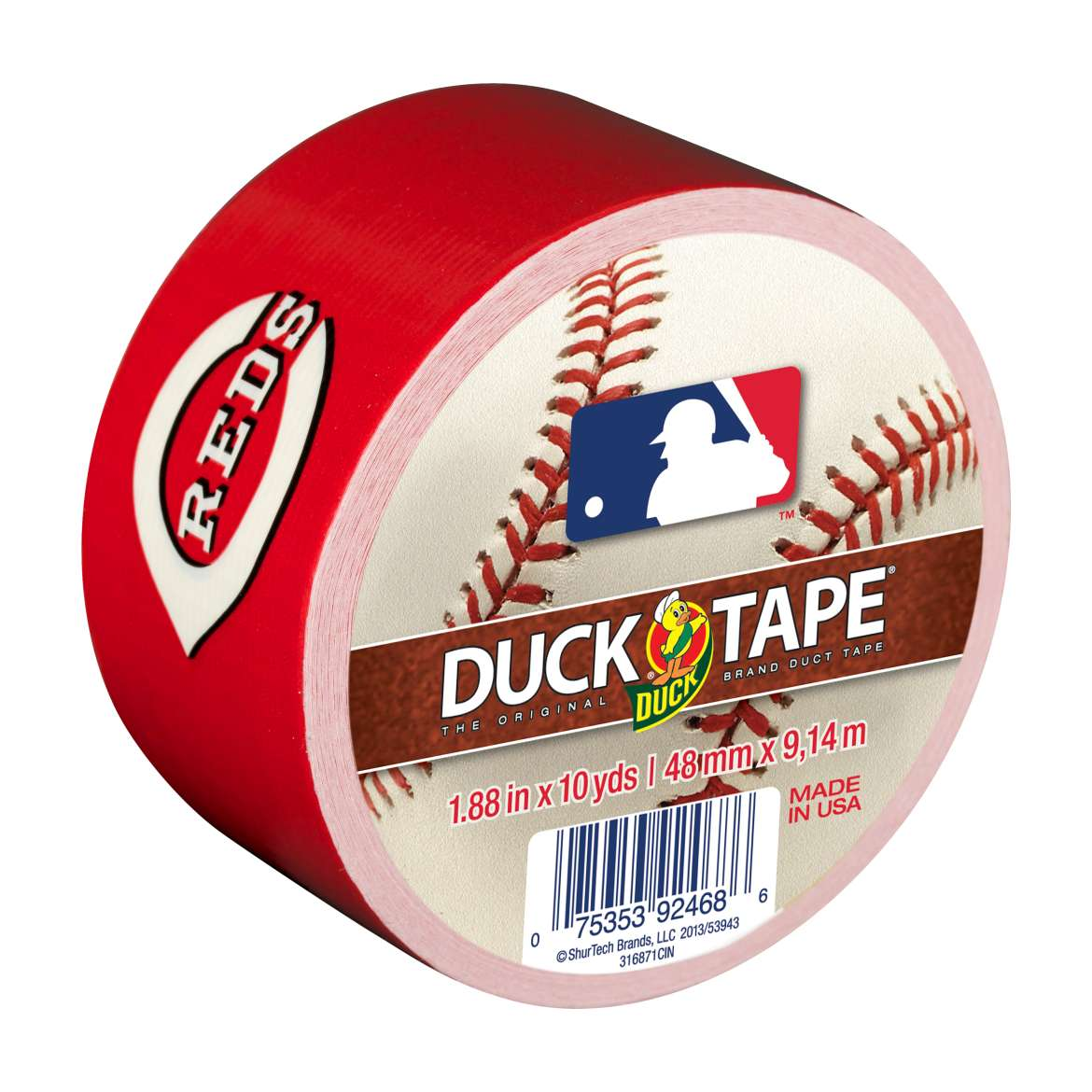 MLB Licensed Duck Tape® Brand Duct Tape - Cincinnati Reds, 1.88 in. x 10 yd. Image