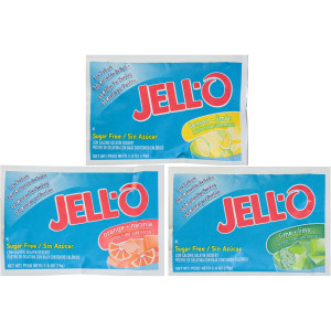 JELL-O Sugar-Free Citrus Dry Gelatin Mix (Assortment of Orange, Lime, Lemon), 2.75 oz. Pouches (Pack of 18) image