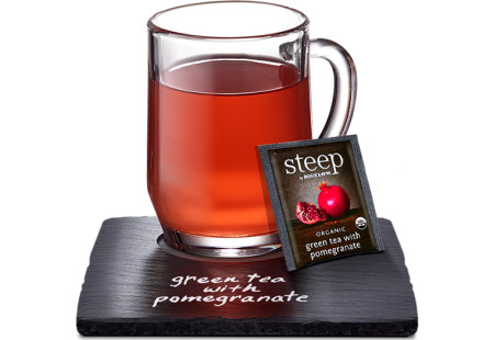 cup of steep by bigelow organic green tea with pomegranate tea
