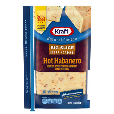 Kraft Big Slice Hot Habanero Natural Cheese Slices 10 slices - 7.5 oz Wrapper