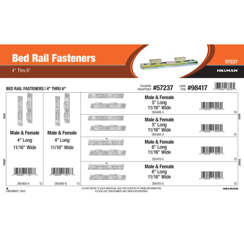 Bed Rail Fasteners Assortment (4