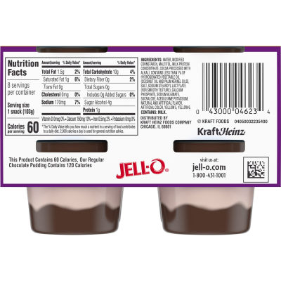 Jell-O Ready to Eat Sugar Free Chocolate Vanilla Swirl Pudding Cups, 29 oz Sleeve (8 Cups)
