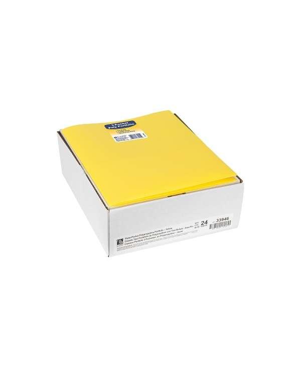 C-Line® 3-Pocket Poly Portfolio, Yellow, Box Of 24 C-Line