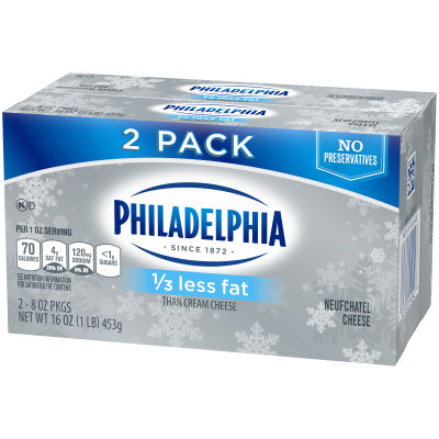 Philadelphia 1/3 less Fat Cream Cheese Brick 16 oz Multipack (Pack of 2)