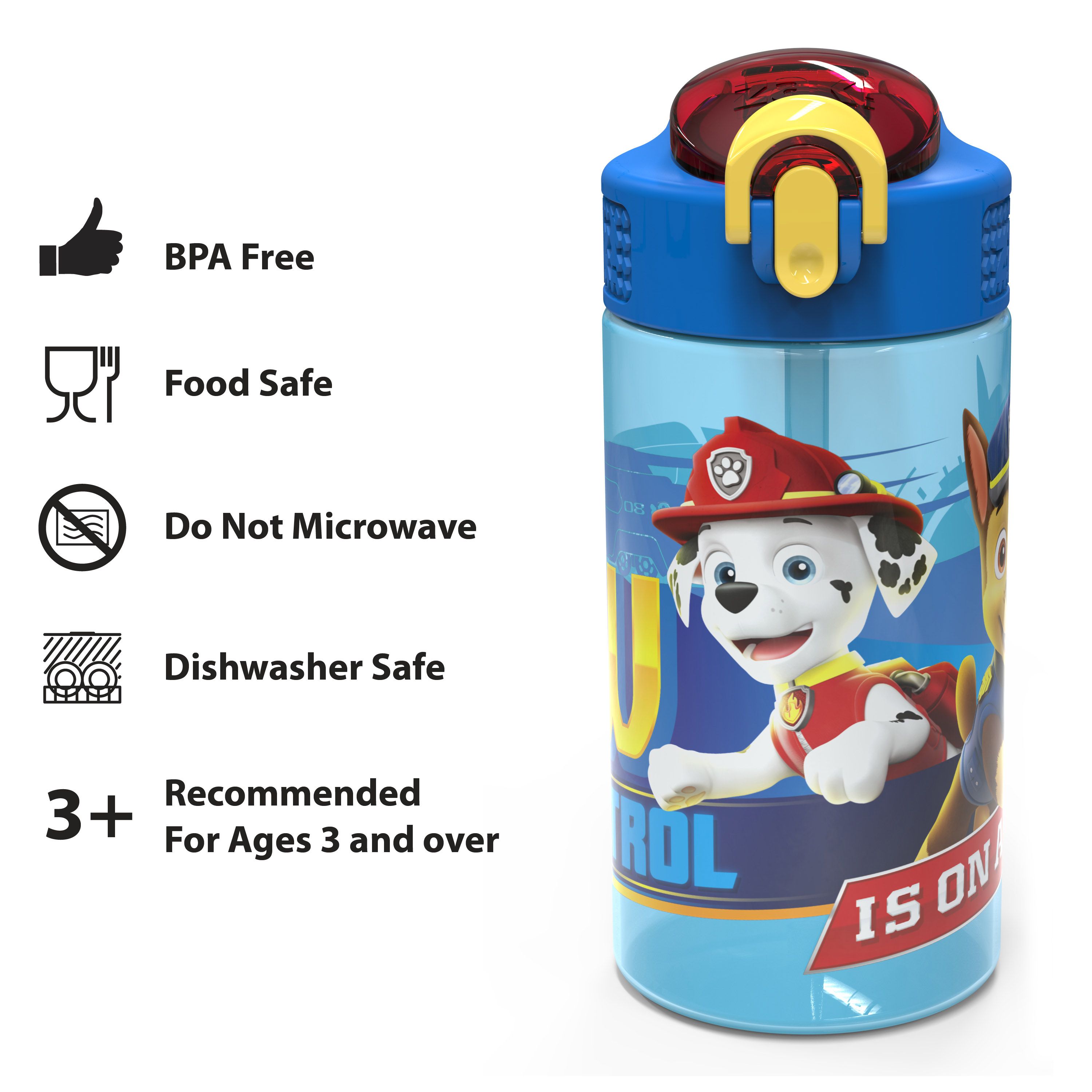 Paw Patrol 16 ounce Reusable Plastic Water Bottle with Straw, Marshall, 2-piece set slideshow image 7