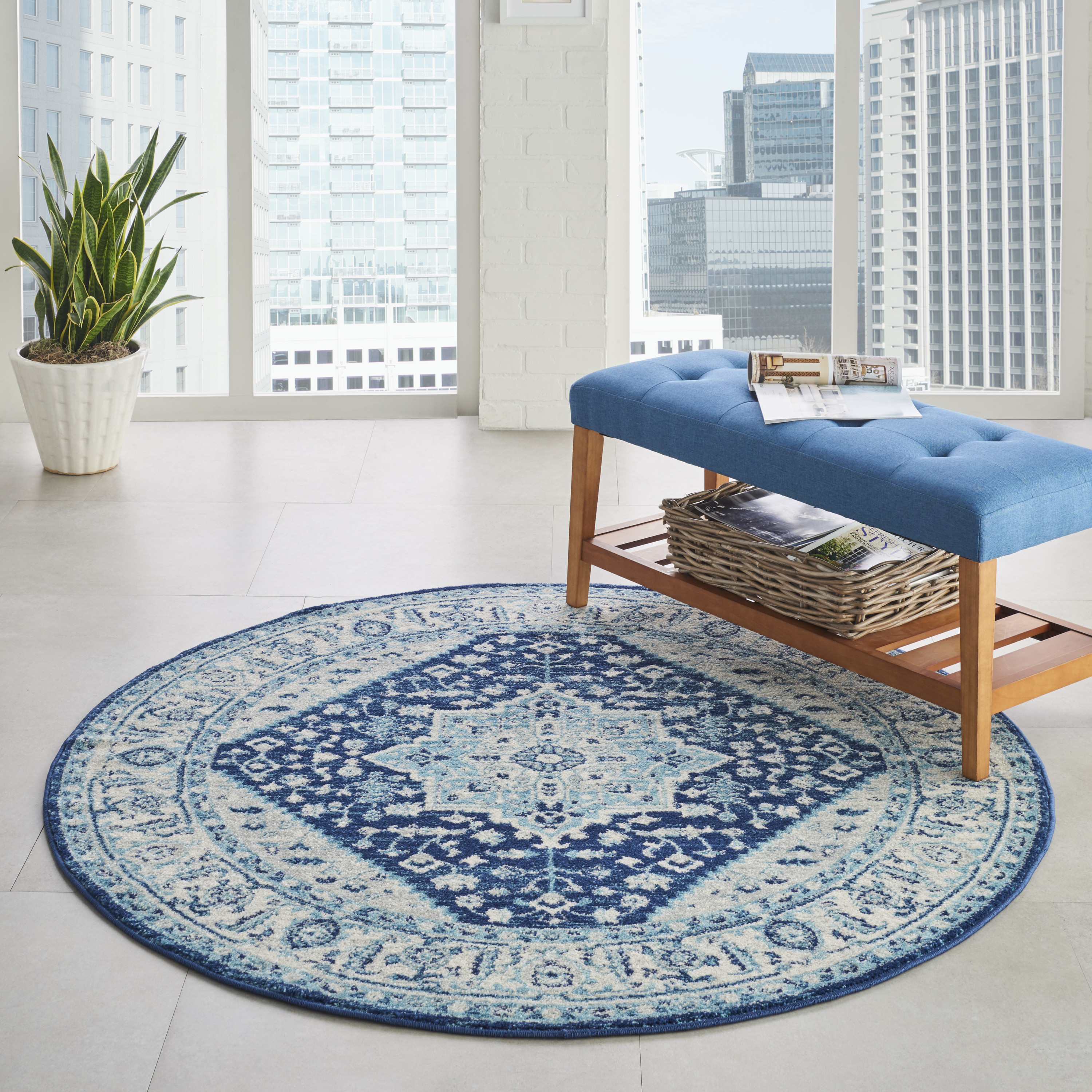 Nourison Tranquil TRA06 Ivory Navy Rug