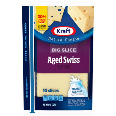 Kraft Big Slice Aged Swiss Natural Cheese Slices 10 slices - 8 oz Wrapper