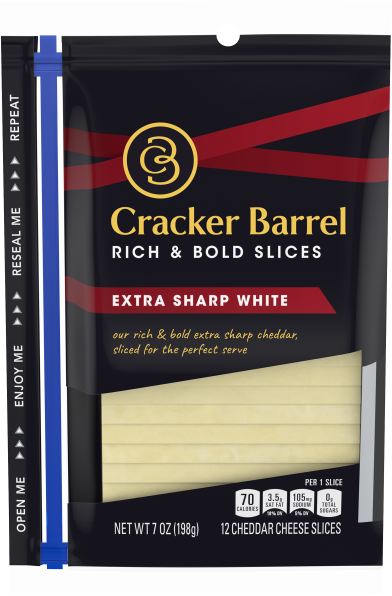Cracker Barrel Extra Sharp White Cheddar Cheese Slices 12 slices - 7 oz