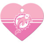Miami Dolphins Pink Chrome Large Heart Quick-Tag