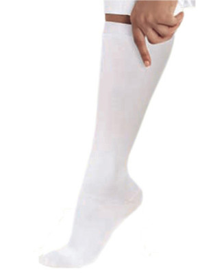 Landau Compression Socks White Unisex Antimicrobial Odor Resistant 8-15 MMHG Graduated 14300-