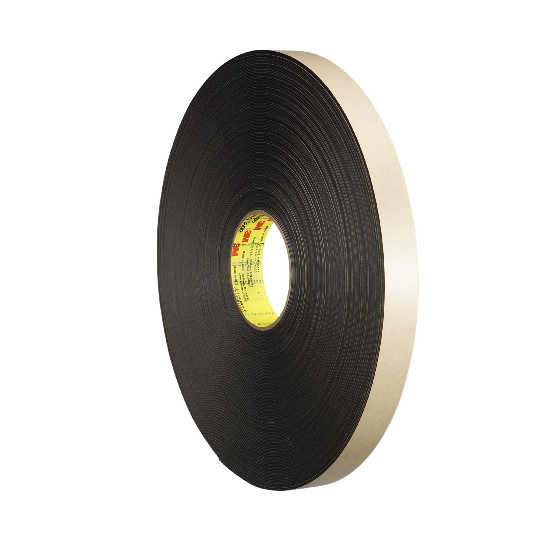 3M™ Double Coated Polyethylene Foam Tape 4492B, Black, 1 in x 72 yd, 31 mil, 9 rolls per case