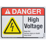 "Aluminum High Voltage Danger Sign 10"" x 14"""