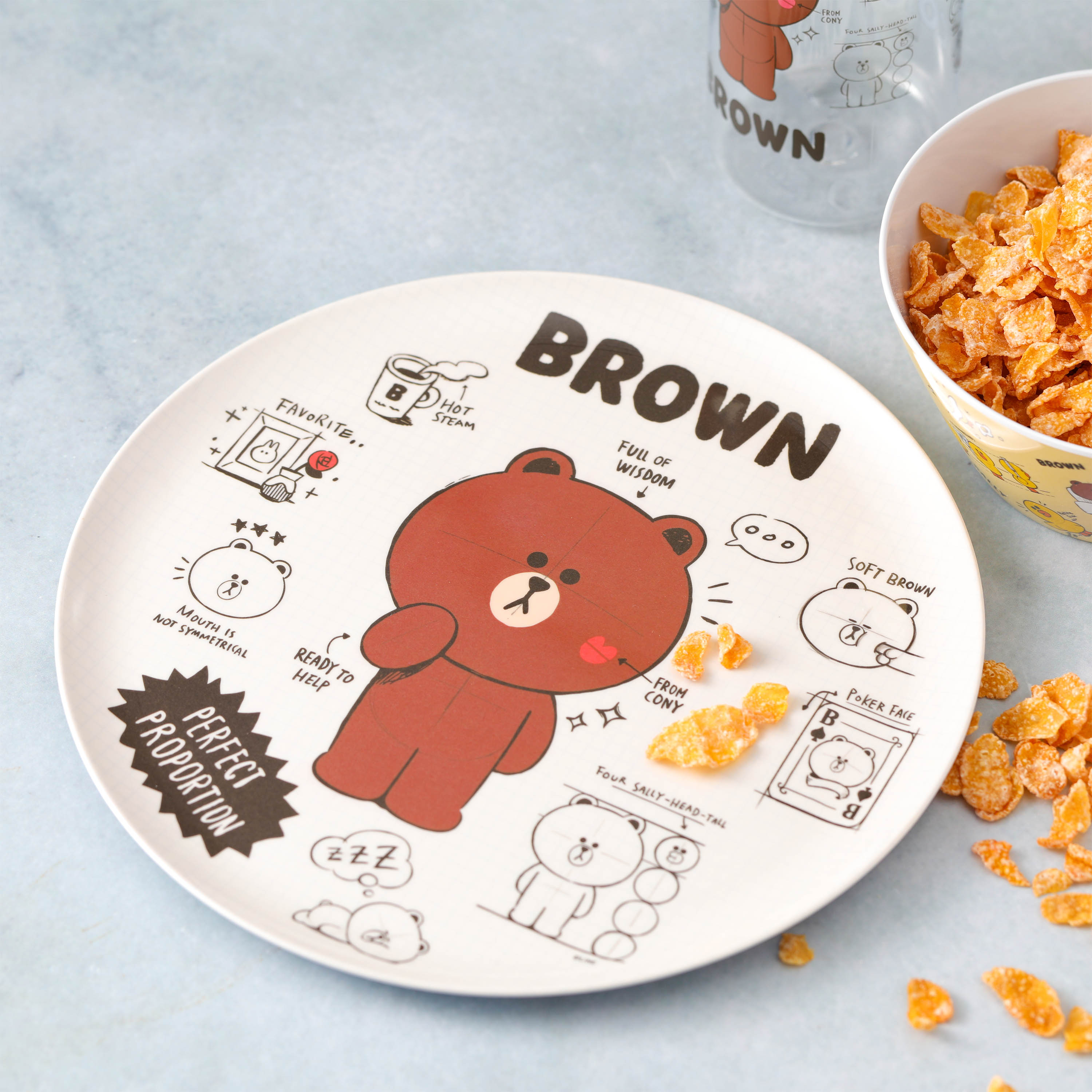 Line Friends Dinnerware Set, Teddy Bear, 2-piece set slideshow image 2