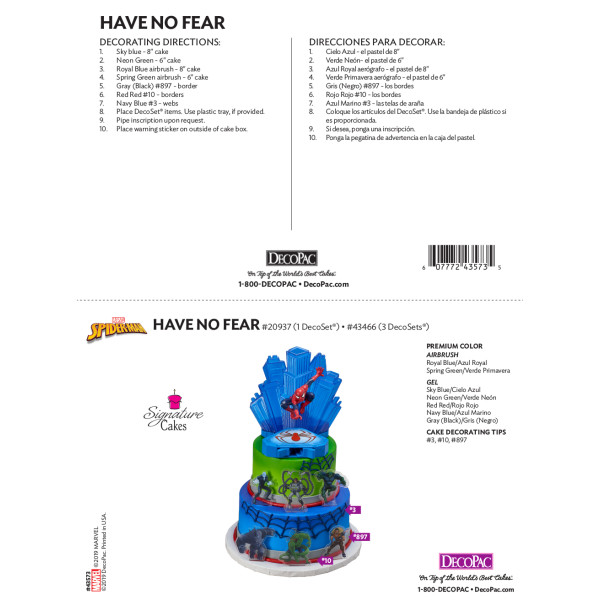 MARVEL Spider-Man™ Have No Fear Signature Cake Decorating Instruction Card