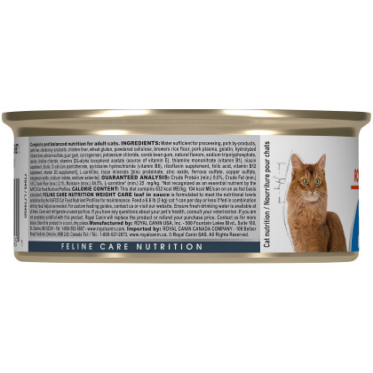 Royal Canin Feline Care Nutrition Weight Care Loaf In Sauce Canned Cat Food