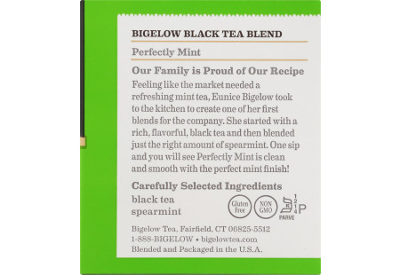 Ingredient panel of Perfectly Mint Tea box of 20 bags