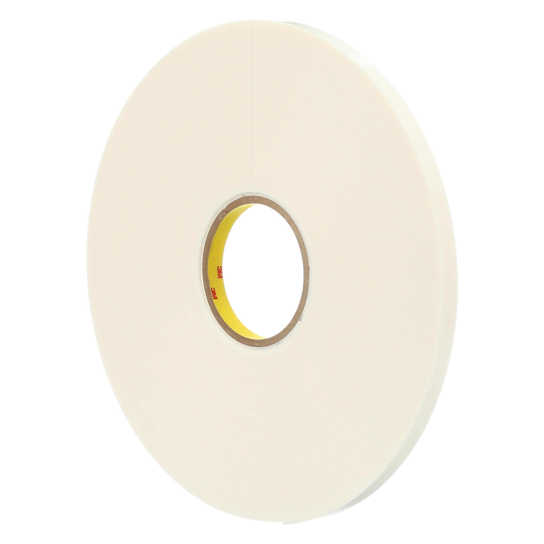 3M™ Double Coated Polyethylene Foam Tape 4466, White, 1 1/2 in x 36 yd, 62 mil, 6 rolls per case