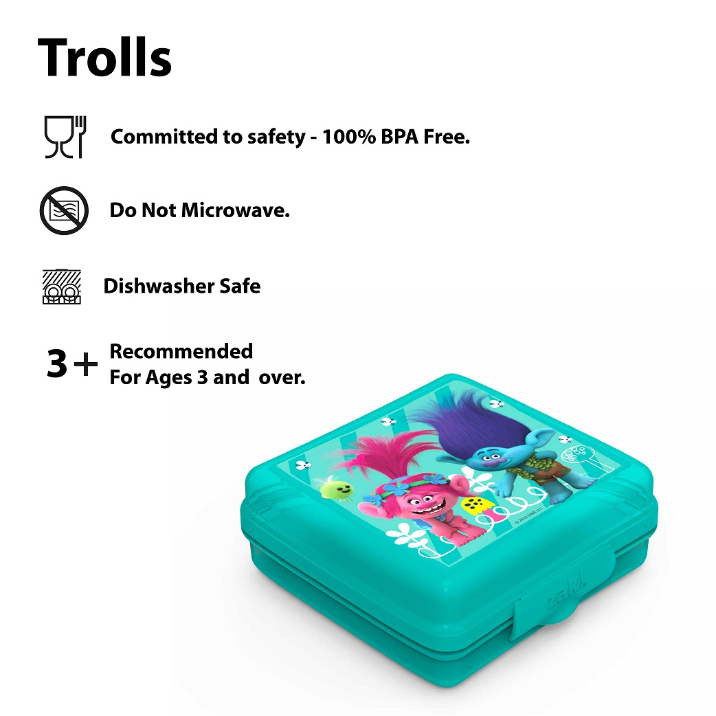 Trolls Movie Kid's Water Bottle and Sandwich Container Lunch Set, Poppy and Friends, 2-piece set slideshow image 5