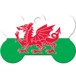 Welsh Flag Chrome Large Bone Quick-Tag