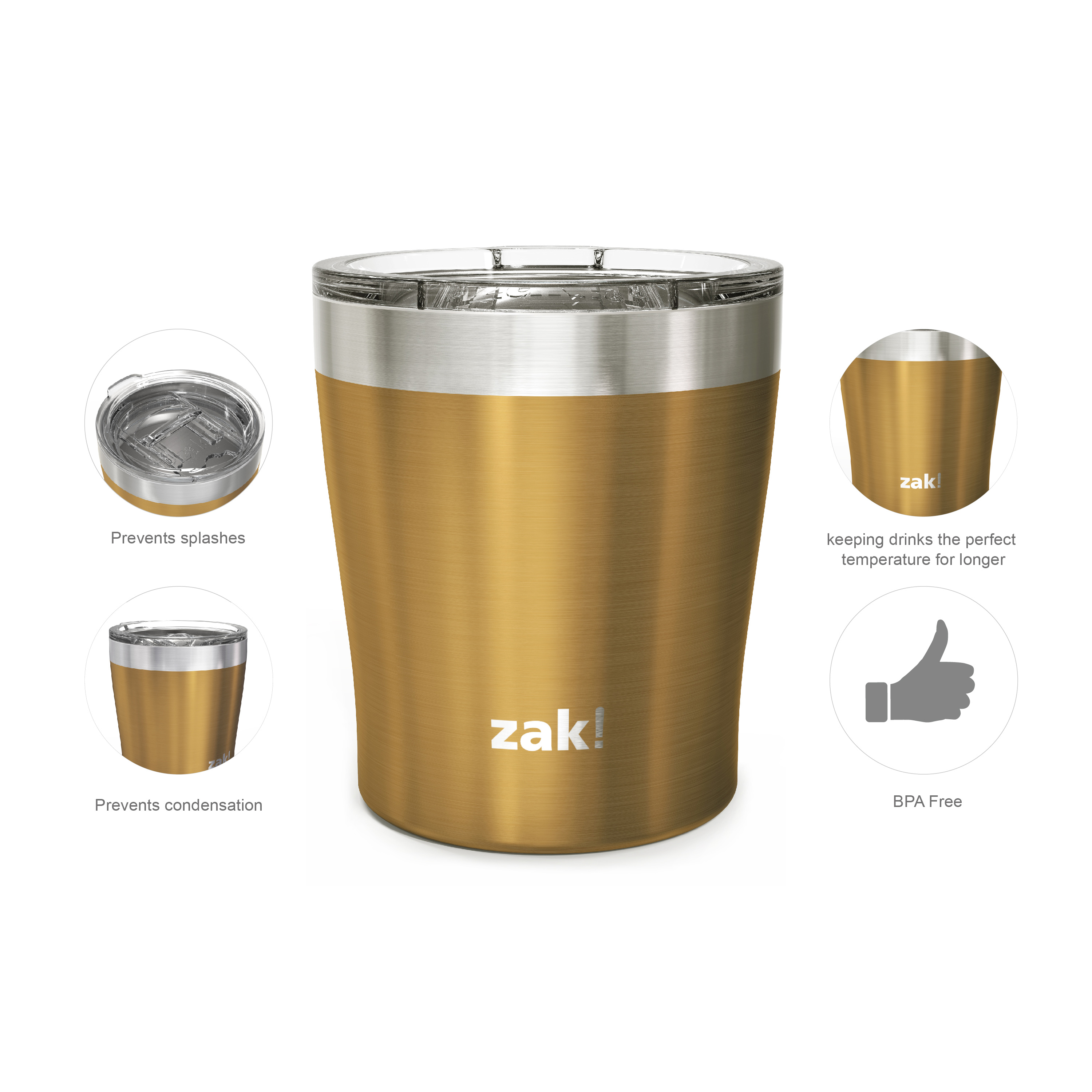 Dayton 10 ounce Vacuum Insulated Stainless Steel Tumbler, Copper, 2-piece set slideshow image 5