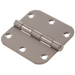 "Hardware Essentials 5/8"" Stainless Steel Round Corner Residential Door Hinges with Removable Pin"