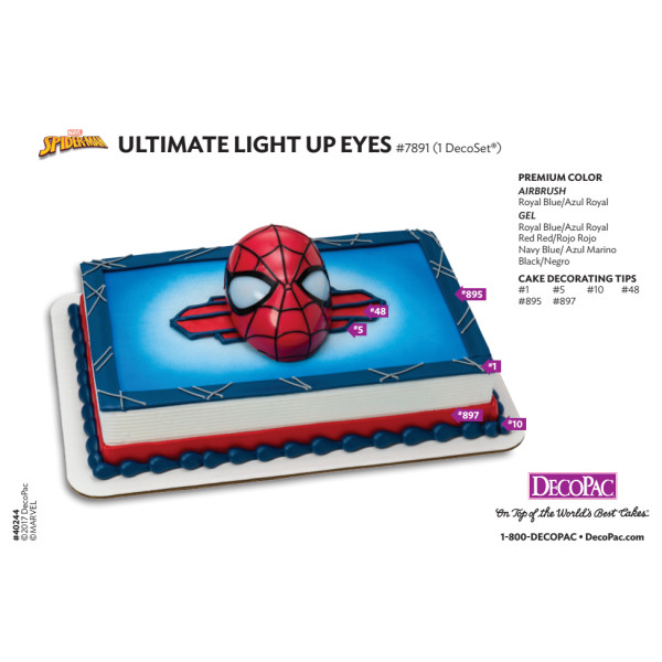 MARVEL Spider-Man™ Ultimate Light Up Eyes Cake Decorating Instruction Card