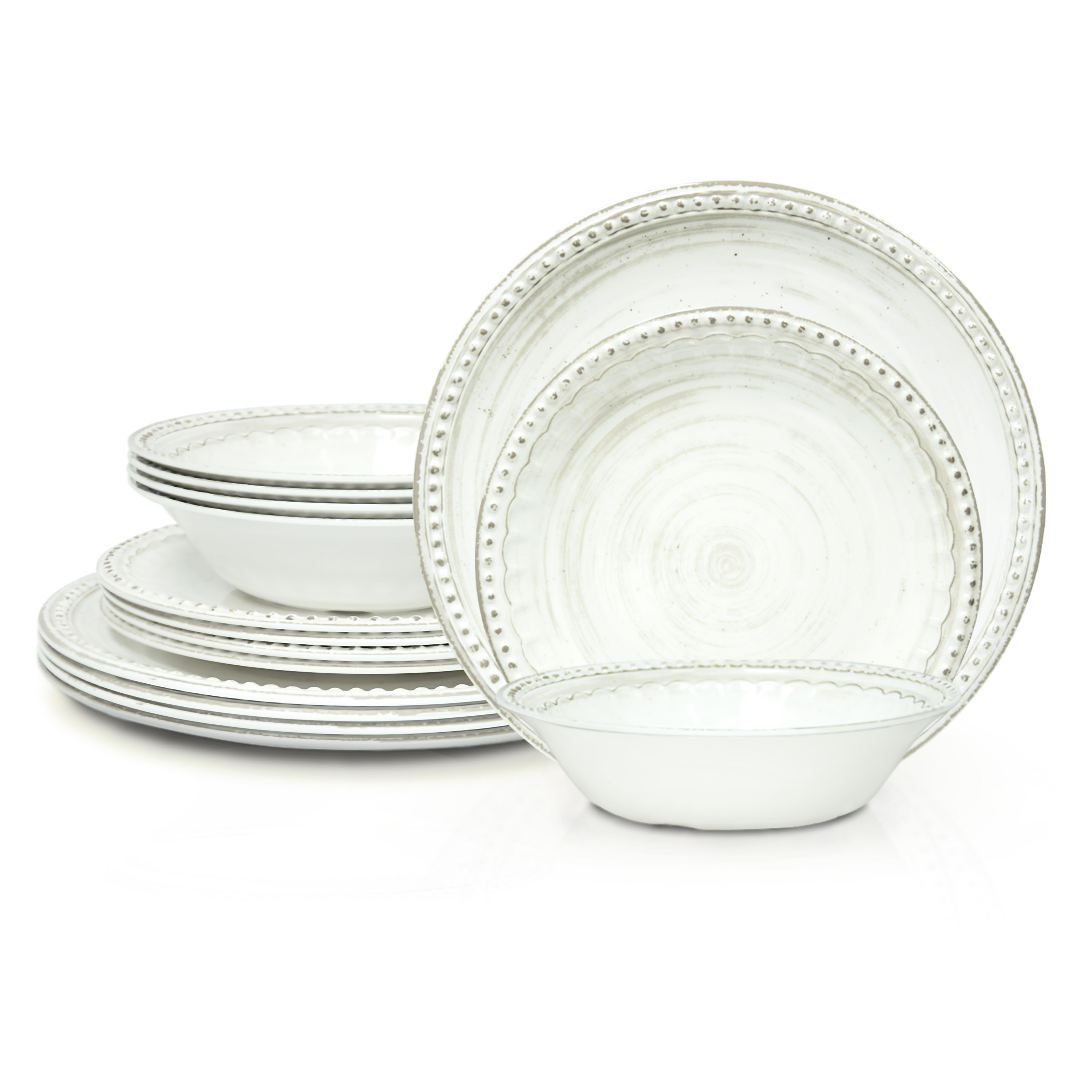 French Country Plate & Bowl Sets, White, 12-piece set