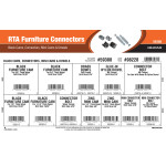 RTA Furniture Connectors Assortment (Black Cams, Connectors, Mini Cams & Dowels)