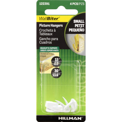 Hillman Small Wall Biter Picture Hangers White finish 30lb Package of 4
