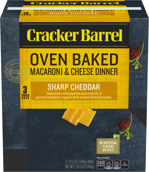 Cracker Barrel Oven Baked Sharp Cheddar Macaroni & Cheese 3 - 12.3 oz Pouches