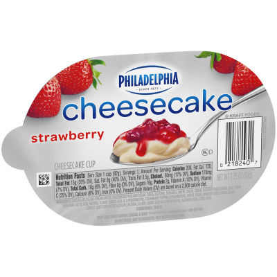 Philadelphia Strawberry Cheesecake Refrigerated Snacks 3.3 oz Cup