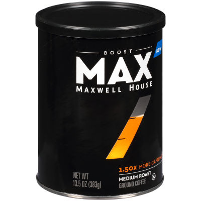 MAX Boost by Maxwell House 1.5x Caffeine Medium Roast Ground Coffee 13.5 oz Canister