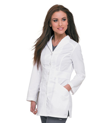 Landau 2 Pocket Lab Coat for Women - Modern Tailored Fit, 5 Button Stretch Consultation Length 3028-