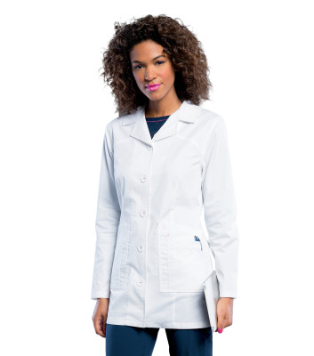 Smitten MARQUEE Stretch Lab Coat for Women: Contemporary Slim Fit, 5 Pocket,Button Down, Mid Length S303006-