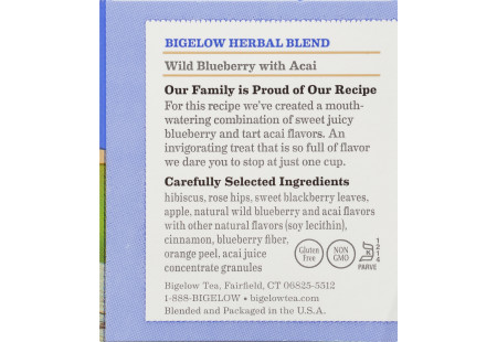 Ingredient panel of Wild Blueberry with Acai Herbal Tea box