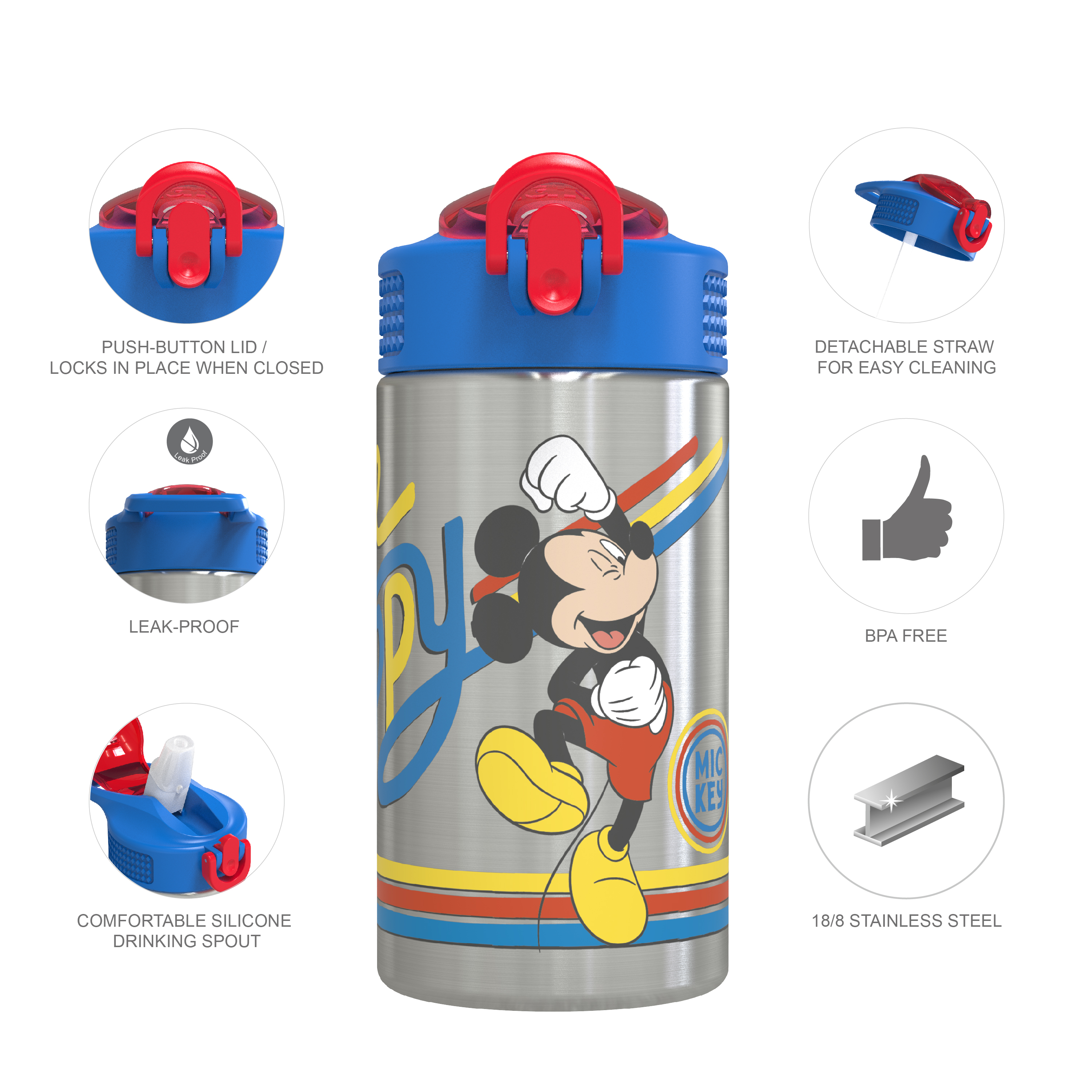 Disney 15.5 ounce Stainless Steel Water Bottle with Built-in Carrying Loop, Mickey Mouse slideshow image 7