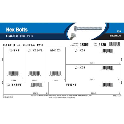 Full-Thread Zinc Hex Bolts Assortment (1/2