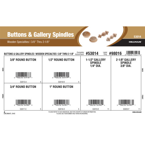 Buttons & Gallery Spindles Assortment (3/8